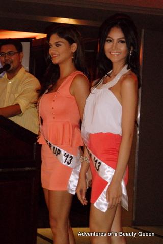 Bb. Pilipinas 2013 1st RU Pia Wurtzbach (left) with Bb. Pilipinas Tourism 2013 Cindy Miranda
