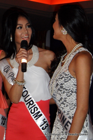 5) Bb. Pilipinas Tourism 2013 Cindy Miranda encourages Mutya (right) at the send-off party.