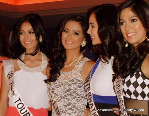 Bb. Pilipinas 2013 Court of winners - L-R Cindy Miranda (Tourism), Mutya Datul (Supranational), Bea Santiago (International) and Ara Arida (Universe)