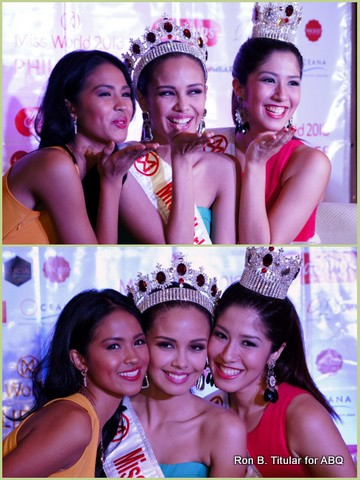 Miss World Philippines 2013 Megan Young (middle) with her princesses - 1st Princess Janicel Lubina (left) and 2nd Princess Zahra Bianca Saldua (right)... looks like Janicel forgot her crown!