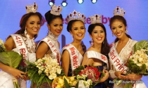 Miss World Philippines 2013 winners - L-R - 4th RU Omarie Osuna, 1st RU Janicel Lubina, Winner Megan Young, 2nd RU Bianca Saldua, 3rd RU Bianca Paz