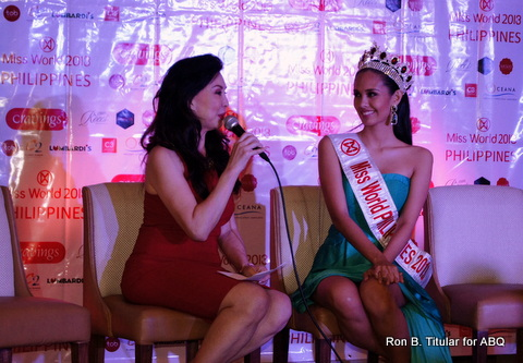 Miss World Philippines Director Cory Quirino (left) with Megan Young