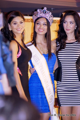 3) Pia Wurtzbach (left) and Bb. Pilipinas International 2013 Bea Santiago flank Mutya Datul