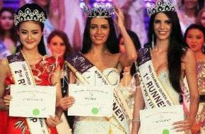 Latvia (middle) wins Miss Tourism Queen International 2013... South Africa is 1st RU (right) and China is 2nd RU