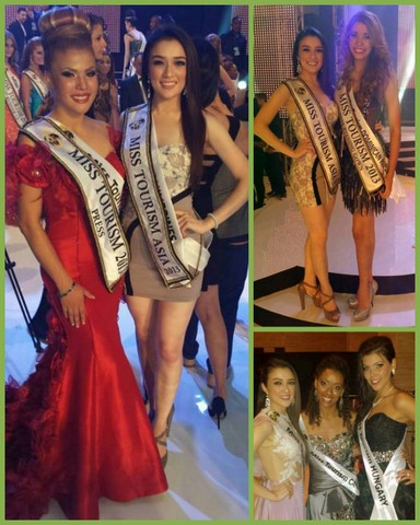 Aiyana Mikiewicz with some of her co-candidates after the coronation in Miss Tourism World 2013
