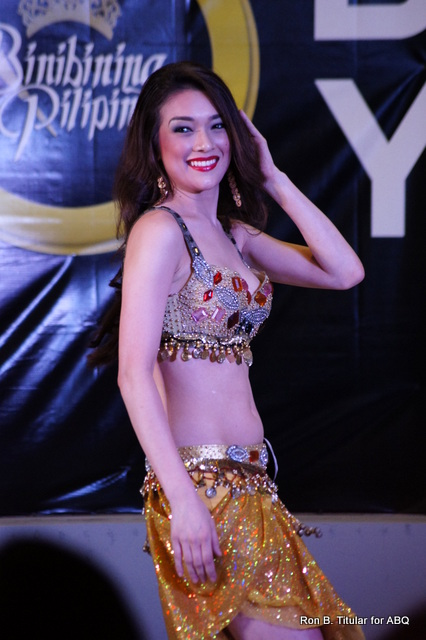 Aiyana Mikiewicz doing a Belly Dance at the Talent Show of Bb. Pilipinas Gold 2013. Notice, her styling is different. I much prefer her look as Miss Tourism World Philippines 2013...