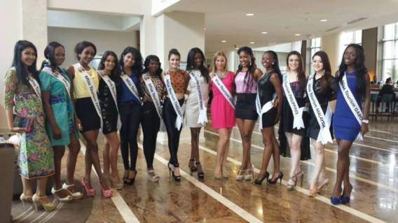 Gorgeous contestants at Miss Tourism World 2013! Aiyana Mikiewicz of the Philippines is 3rd from the right.