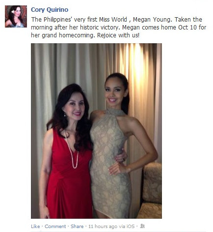 Miss World Philippines National Director Cory Quirino (left) with Megan Young, the reigning Miss World 2013