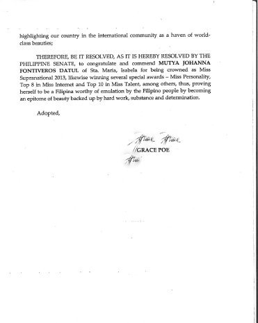 Page 2 of the Senate Citation to honor Miss Supranational 2013 Mutya Datul