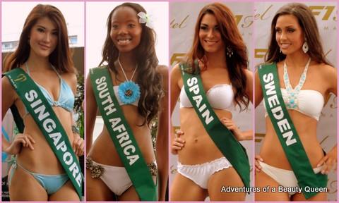 ABQ Swimsuit Favorites - Singapore's Vanessa Hee, South Africa's Ashanti Mbanga, Spain's, Cristina Martinez, Sweden's Denice Andree