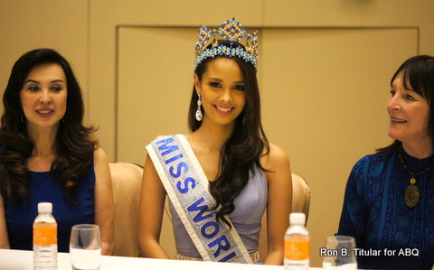 Miss World 2013 Megan Young flanked by Miss World Philippines National Director Cory Quirino (left) and Miss World chairwoman Julia Morley (right). Photo taken during Megan's homecoming Press Con at Solaire.