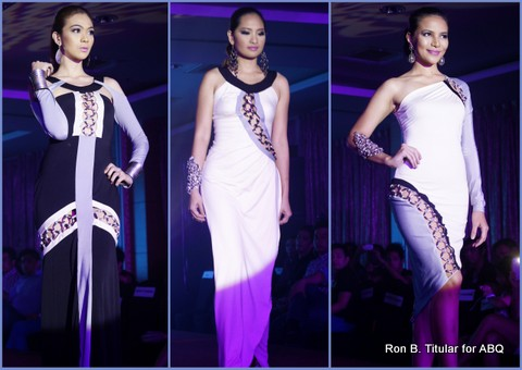 Designer NICKY MARTINEZ - Left - Lorraine de Guzman (Miss Casino Filipino 2012), Middle - Candice Ramos (Miss Philippines Earth Ecotourism 2012), Right - Stephany Malibiran (Mrs. Asia Tourism International 2013)