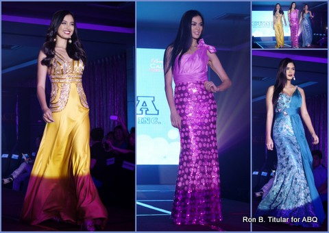 Left - Mutya Datul, Miss Supranational 2013, Middle - Ariella Arida, Right - Pia Wurtzbach, Bb Pilipinas 2013 1st Runner-up... all wearing Cumbia gowns courtesy of Bb. Pilipinas Charity Inc. and Mme Stella Marquez Araneta
