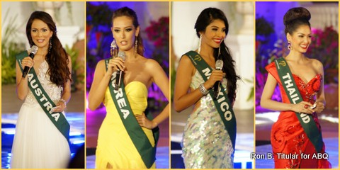 The first four Miss Earth contestants during the Q and A segment...