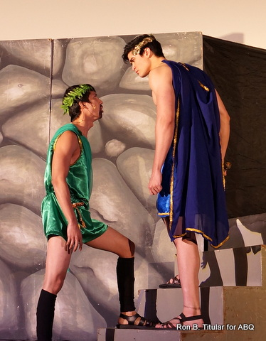 Miran plays Creon (in green), the brother-in-law of Oedipus and brother of Queen Jocasta
