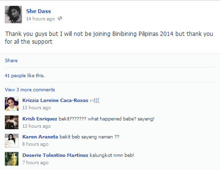 Oh no! Sherlien Dass won't be competing anymore in Bb. Pilipinas 2014?