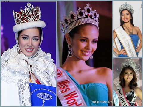 Miss International 2013 Bea Santiago (left), Megan Young Miss World 2013 (middle), Mutya Datul Miss Supranational 2013 (top right), Angeli Dione Gomez Miss Tourism International 2013/2014 (bottom right)