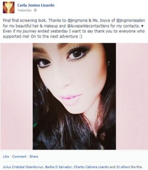 Taken from Carla Jenina Lizardo's Facebook. But now she's back in the pageant thanks to some strange developments...