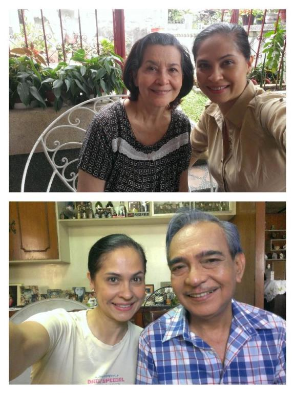 "With Marita Zobel (top) and Tommy Abuel, my co-actors in the student film ""Nenita"""