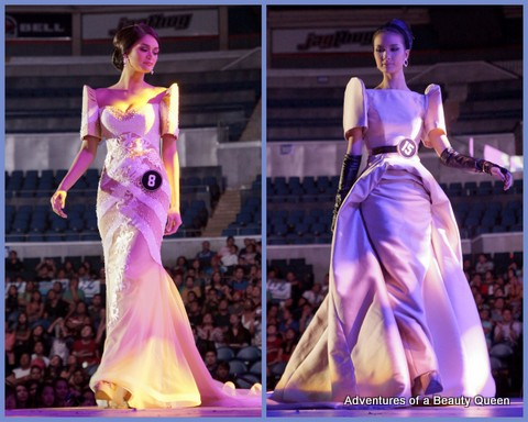 Bb. #8 Pia Wurtzbach (left) and Bb. #15 Kimverlyn Suiza