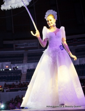 Kris Tiffany Janson, Bb. #13 like a dream in her  pure white terno by designer Cary Santiago