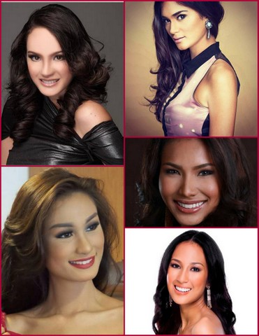 My Top 5 Girls - clockwise from upper left - Kris Tiffany Janson, Pia Wurtzbach, Parul Shah, Hannah Ruth Sison and Yvethe Santiago