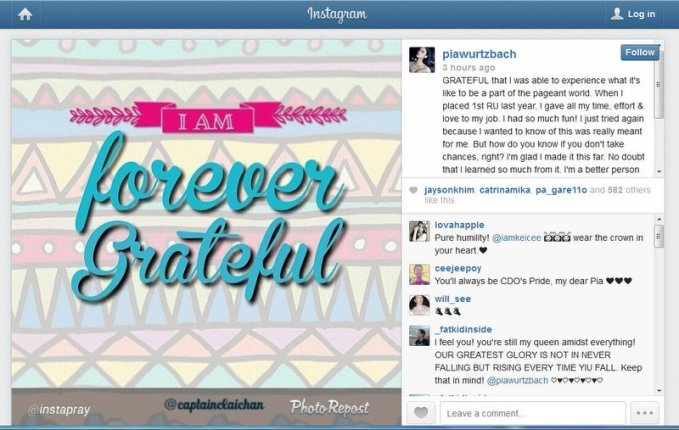 Pia Wurtzbach's post Bb. Pilipinas 2014 message to her fans...