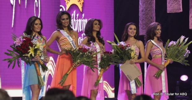 Special Awards - L-R - Kris Tiffany Janson (National Costume and Face of Bb. Pilipinas), Raquel Kabigting (Friendship), Yvethe Santiago (Bb. Avon), Ladylyn Riva (Bulletin Readers' Choice) and Gab Tilokani (Talent)