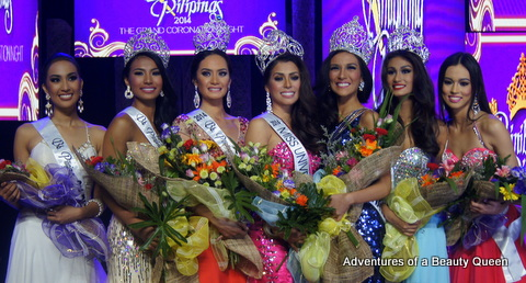 Winners of Bb. Pilipinas 2014 - L to R - 2nd Runner-up Hannah Ruth Sison, Tourism Parul Shah, Intercontinental Kris Tiffany Janson, Universe MJ Lastimosa, International Bianca Guidotti, Supranational Yvethe Santiago and 1st Runner up Laura Lehmann