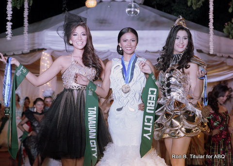 Winners of the Trash to Class Fashion Competition, Miss Philippines Earth 2014 - L-R Bianca Paz (Gapan), Daine Querrer (Tanauan) and Jammie Herrel (Cebu City)