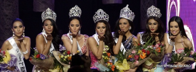 A kiss from MJ Lastimosa and the queens of Bb. Pilipinas 2014!