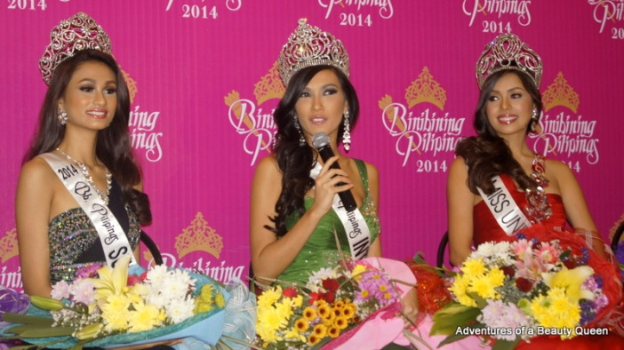 Bb Pilipinas International 2014 Bianca Guidotti takes questions. On the left - Yvethe Santiago (Supra) on the right - MJ Lastimos
