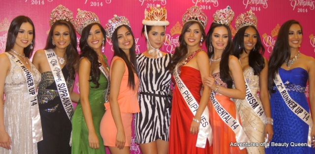 Bb. Pilipinas 2014 Court of winners with reigning Miss Supranational 2013 Mutya Datul (orange) and Bea Rose Santiago, Miss International 2013,