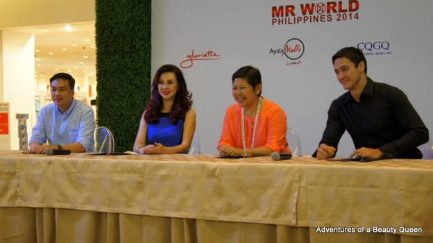 2) L-R Arnold Vegafria (Chairman of Mr. World Philippines Search and Production), Cory Quirino, Rowena Tomeldan of Ayala Land and Mr. World Philippines 2012 Andrew Wolff