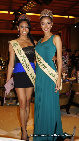 2) Miss Philippines Earth 2013 Angelee Claudett delos Reyes (right) with MPE Water 2013 Alma Cabasal