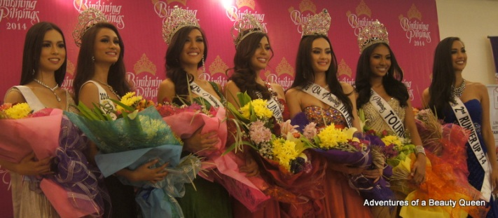 L-R Laura Lehmann (1st  RU), Yvethe Santiago (Supra), Bianca Guidotti (International), MJ Lastimosa (Universe), Kris Janson (Intercontinental), Parul Shah (Tourism) and Hannah Ruth Sison (2nd Runner-up)