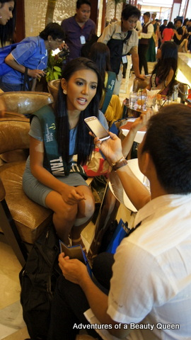 Tanauan's Diane Querrer being interviewed by a press member