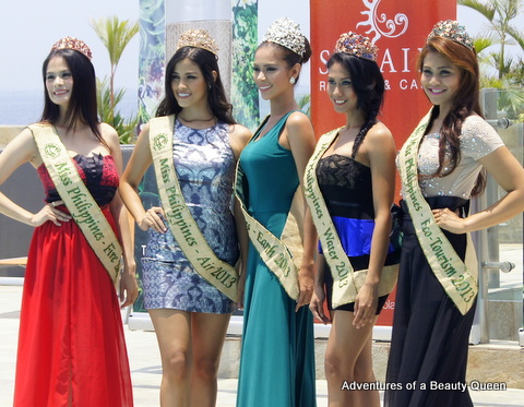 Athina Chia (FIRE) is at the far left in the red gown. Next to her is Nancy Leonard (Air), Angelee Claudett delos Reyes (MPE 2013), Alma Cabasal (Water) and Bernadette Aguirre (Eco-Tourism)