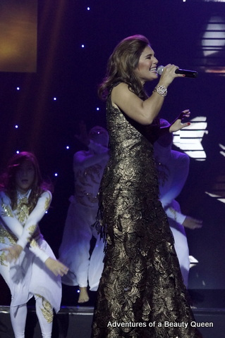 Vina Morales in an earthy metallic gown...