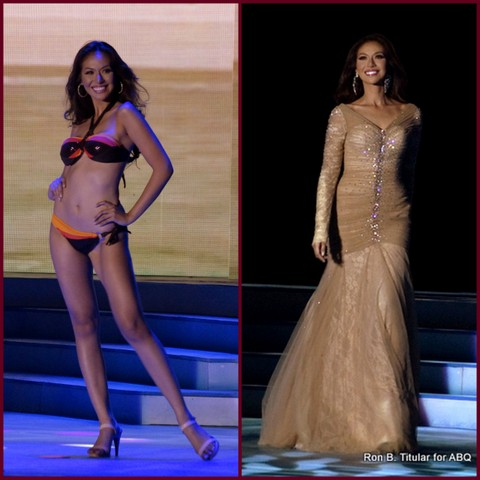 Bianca Paz of Gapan in swimsuit (knock-out body!) and in her competition gown.
