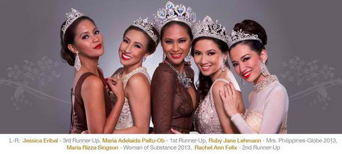 Last year's court of winners... Mrs. Philippines Globe 2013