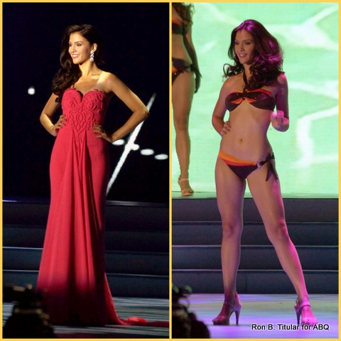 Jamie Herrel in her competition gown (va-va-va-voom!) and her bikini (rawr!)