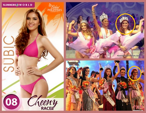 Cristine 'Cheeny Racel' competed and placed in Miss Bikini Philippines 2013 (top right) and Miss Tourism Queen Asia 2013 (bottom right)