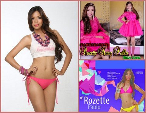 Rozette Kaey Pablo. The top right photo is from her stint at Mutya ng Gerona 2013