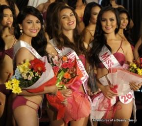 The 3 special award winners at the Mutya ng Pilipinas 2014 Press Presentation - L-R - #4 Jackielyn Dulay of Nueva Ecija (Miss H20),  #25 Patrizia Bosco of Milan (Darling of the Press) and #26 Glennifer Perido of the Cordilleras (Miss Ivana)