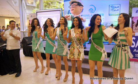Bb. Pilipinas 2014 beauties dance with Manila Water's mascot (he's behind the girls on the stage)!