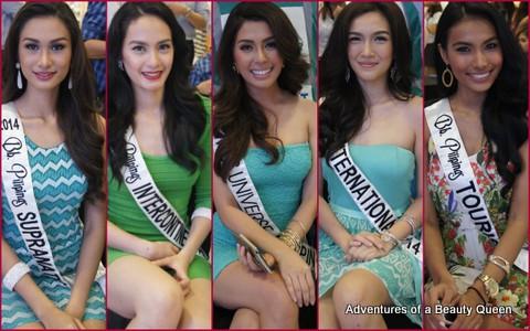 Bb. Pilipinas 2014 Circle of Crown Winners - Yveth Marie Santiago, Kris Tiffany Janson, MJ Lastimosa, Bianca Guidotti, Parul Shah