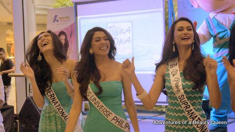 Beauties having fun at the Toka Toka ribbon cutting ceremony. L-R Bianca Guidotti, MJ Lastimosa and Yvethe Santiago!