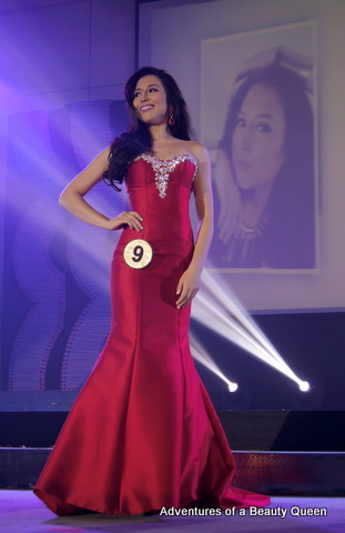 Kim Karlsson in the long gown competition wearing a stunning ruby-red gown that brought out her seductive side...