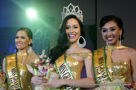 L-R - Rose Fajardo (1st Runner-up), Kim Karlsson (Miss Grand Philippines 2014 winner) and Erna Gomez (2nd Runner-up)